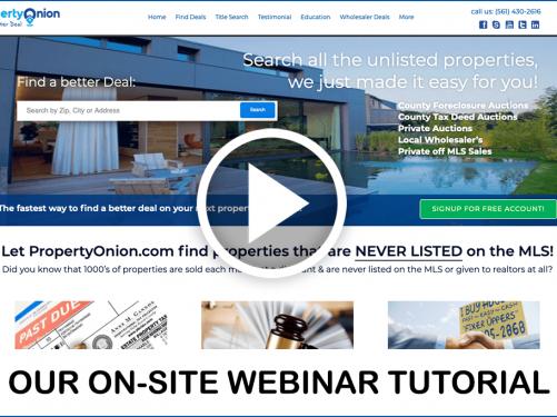 Propertyonion.com Webinar & Tutorial