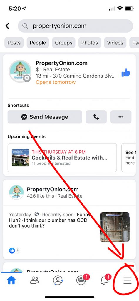 Finding Events for Real Estate Investor Meeting on Facebook app