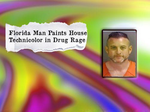 man paints house rainbow